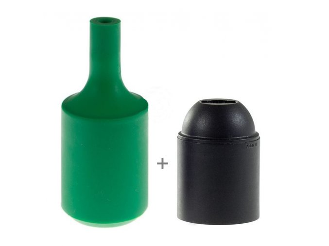 Silikonový návlek s plastovou objímkou E27   - ZELENÁ