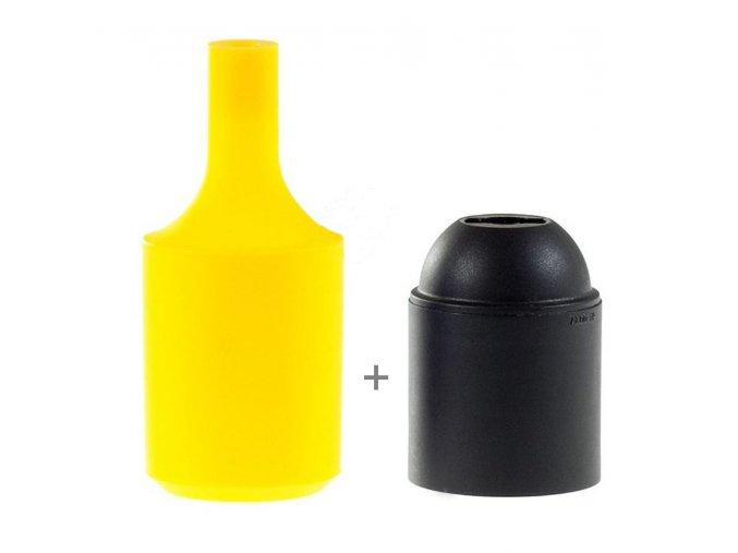 Silikonový návlek s plastovou objímkou E27   - ŽLUTÝ