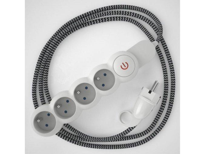Prodlužovací 4 zásuvka + CIKCAK černobílý kabel