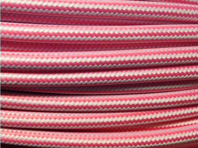 kabel růžovo - bílý PODÉLNÝ VZOR 3 X 0,75MM
