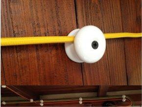 Stropní a nástěnný keramický úchyt na 1 kabel (bílý)