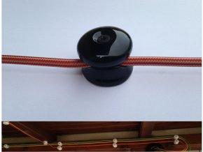 Stropní a nástěnný keramický úchyt na 1 kabel (černý)