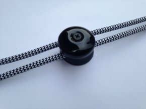 Stropní a nástěnný keramický úchyt na 2 kabely (černý)