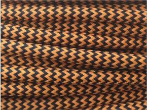 Textilní kabel 2 x 0,75mm CIKCAK černo oranžový