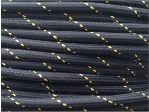 Textilní kabel 2 x 0,75mm PATTERN ROUND ČERNO - ŽLUTÝ