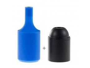 Silikonový návlek s plastovou objímkou E27   - MODRÝ