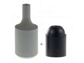 Silikonový návlek s plastovou objímkou E27   - ŠEDÝ