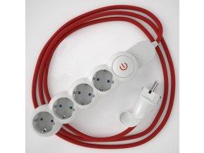 Prodlužovací 4 zásuvka + červený kabel