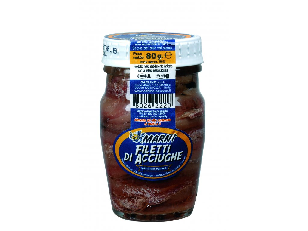 Anchovies in sunflower oil Carlino 80g