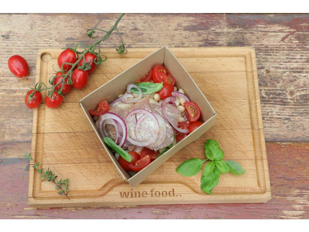 Insalata sarda con tonno, cannellini, datterini e cipolla rossa
