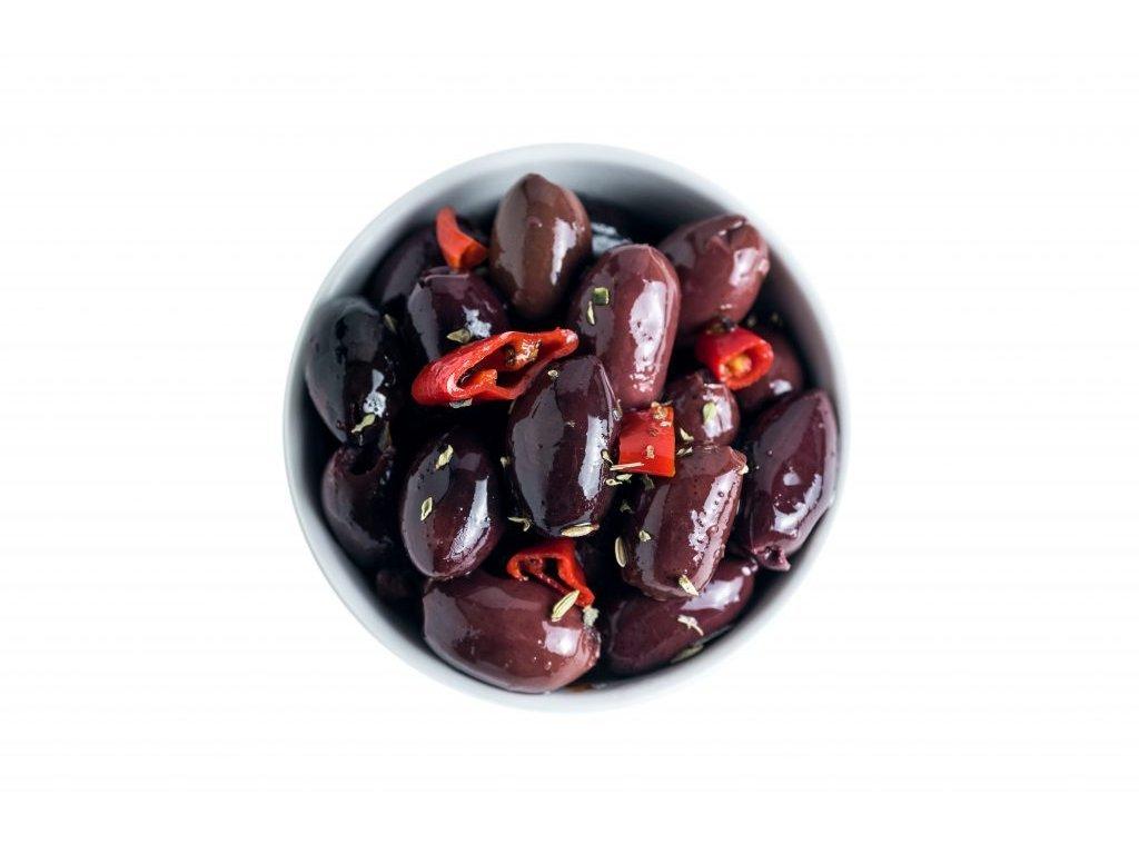 olivy Kalamata bez pecek marinované 420gr Le Nostrane