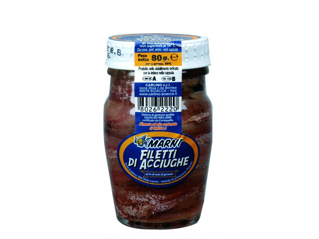 Ančovičky filety v oleji 80g Carlino