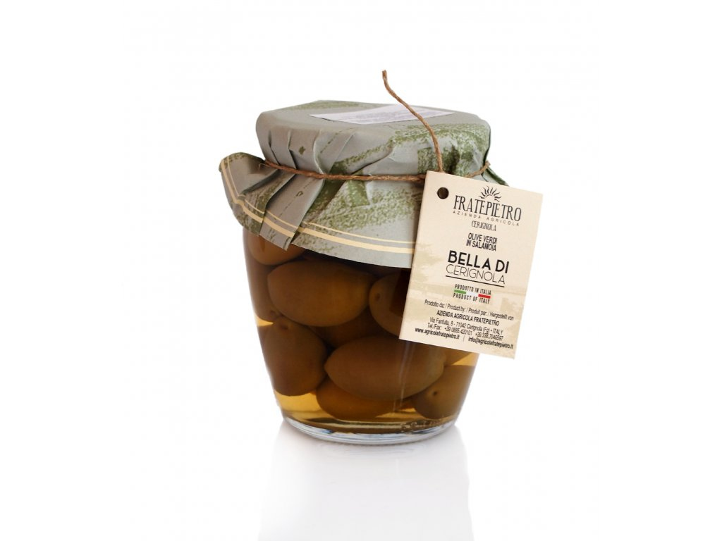 Zelené olivy Bella di Cerignola 518 ml Fratepietro
