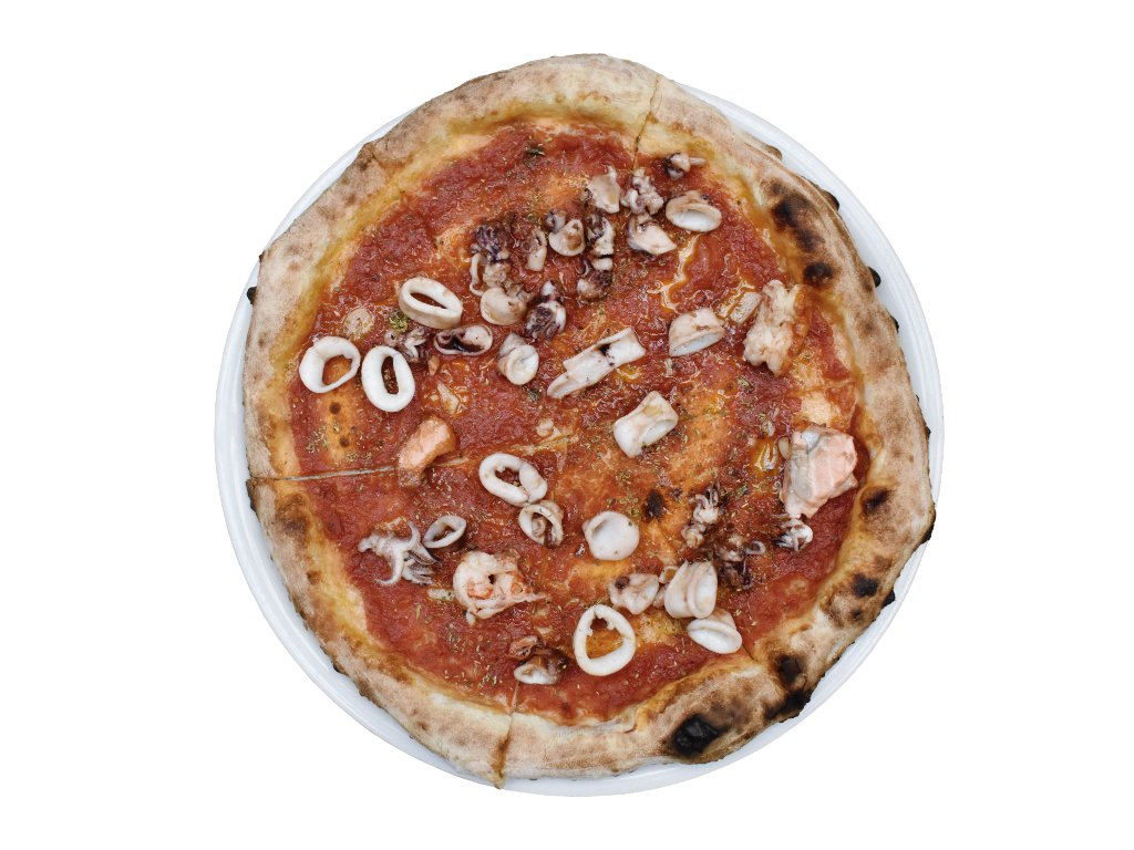 Pizza marinara con frutti di mare e