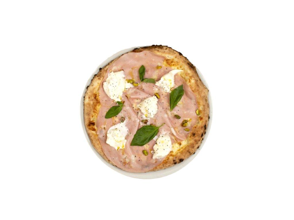 Pizza con burrata e mortadella