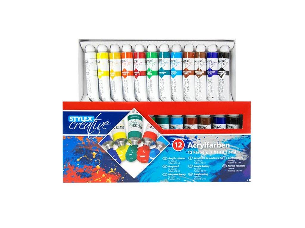 Barvy akrylové sada 12 barev 12ml