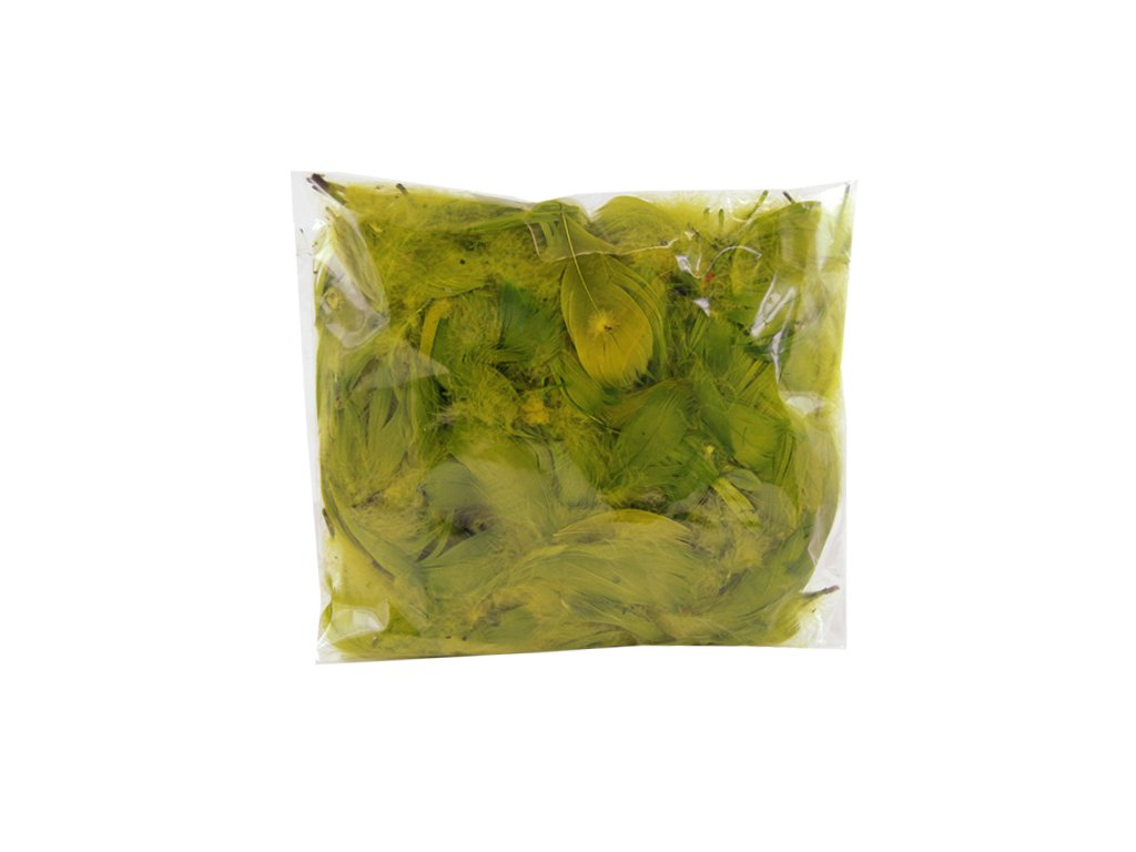 Peří barevné 10 g olivové