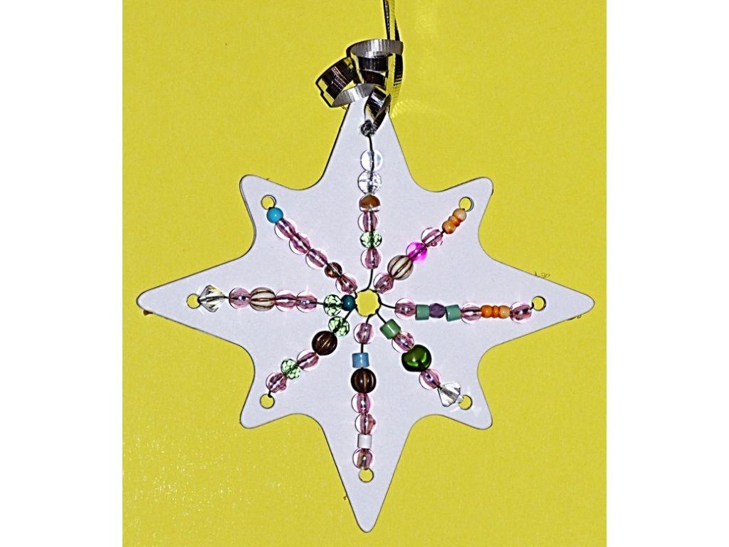 Hvězda prošívací (17 cm) sada - 2 ks, jehla, vlny - kartonový výřez