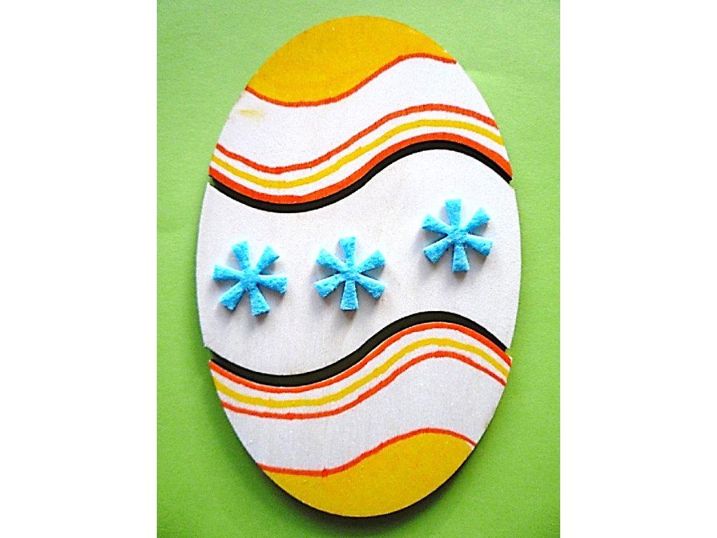 Vajíčko puzzle - 3 díly - (15 x 10 cm) - dřevěný výřez