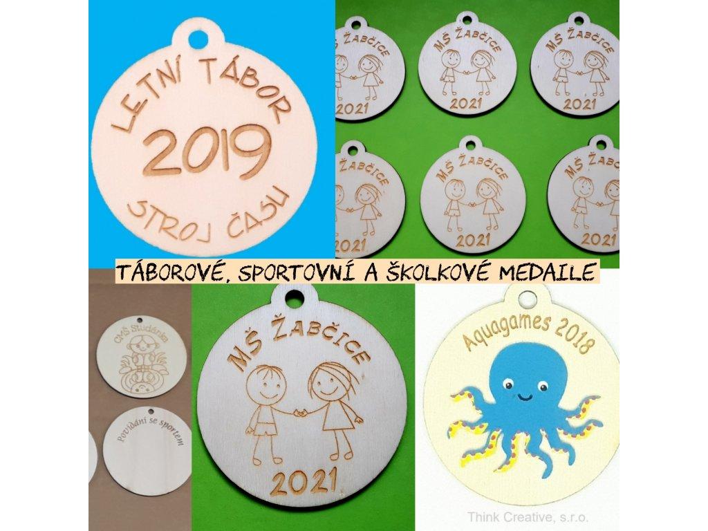 Medaile s nápisem (7cm) - dřevěný výřez