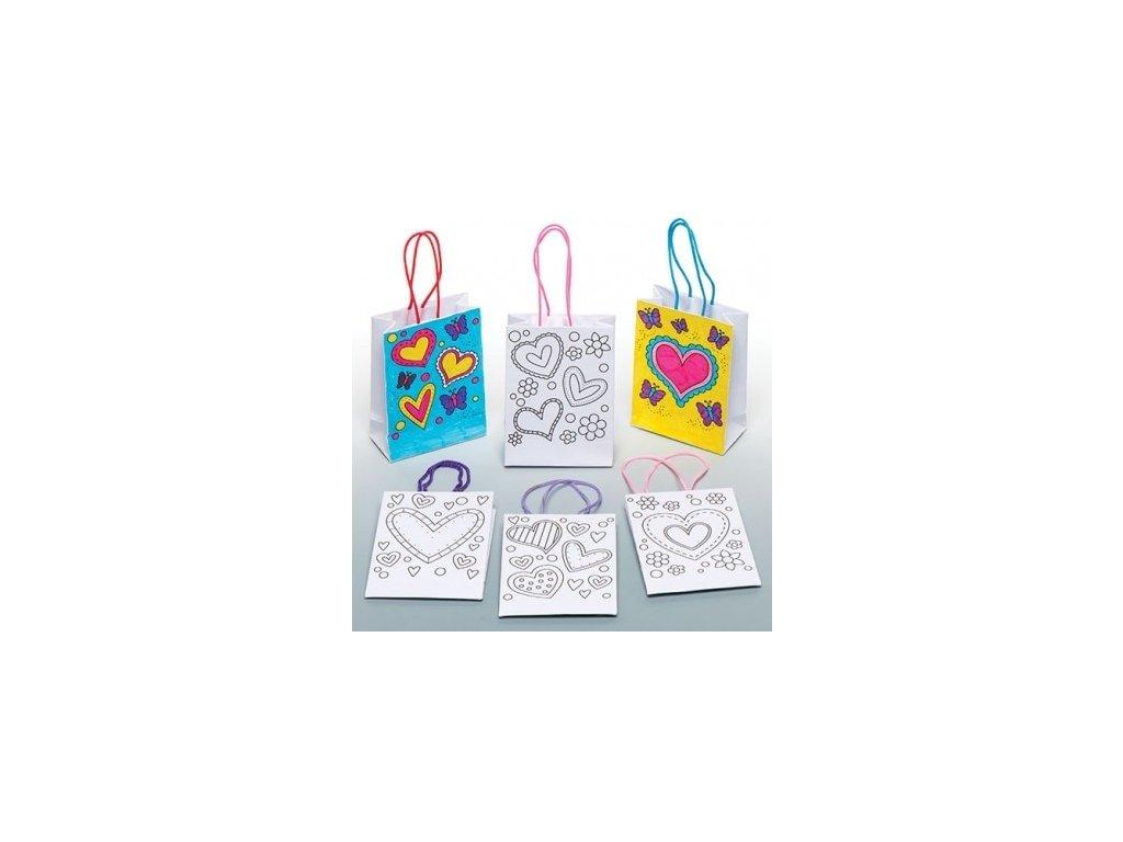 Srdíčko - papírová taštička k vybarvení - 6 ks