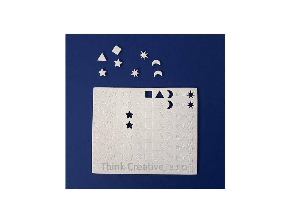 Pěnová samolepící mozaika malá různé tvary - 1 arch (80 ks)
