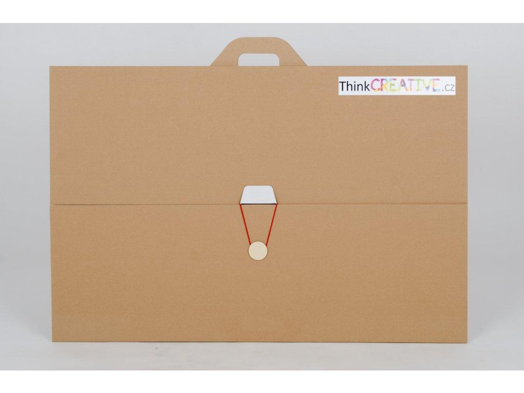 Projektová tabule 120 x 90 cm, hnědo-bílá, s uzavíráním a uchem (10 kusů) - II. jakost