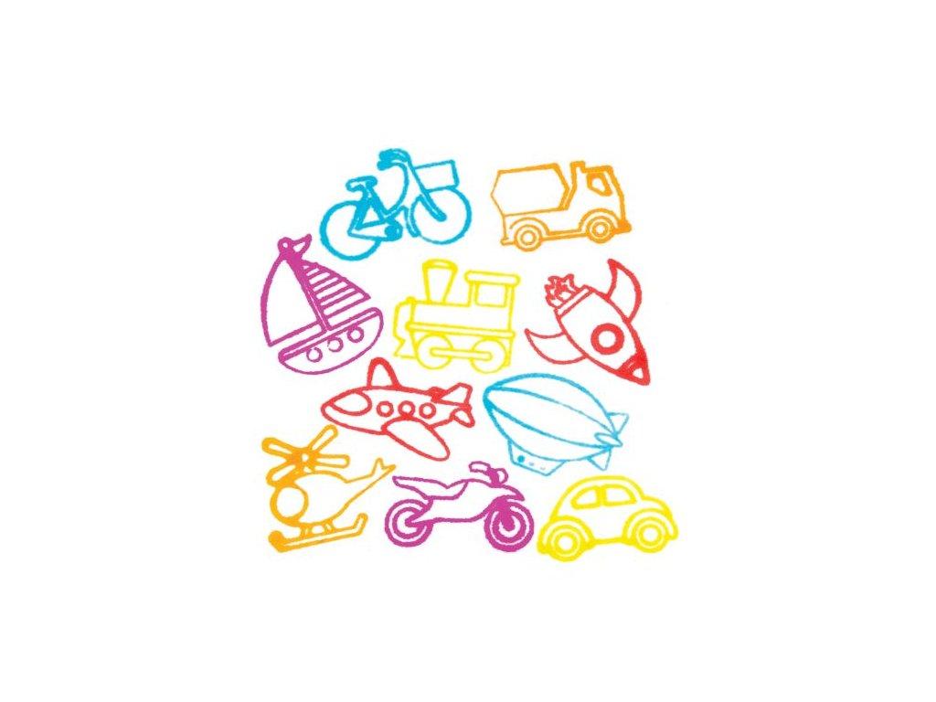 Dopravni prostredky samobarvici razitka