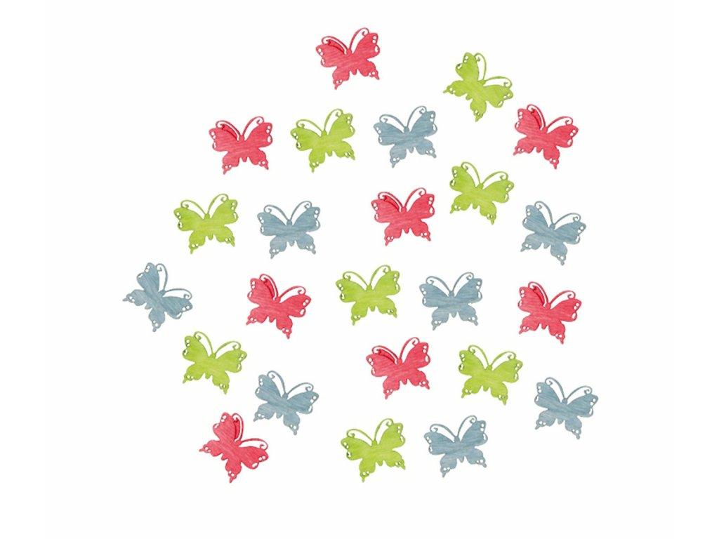Motýlci dřevění  2 cm, 24 ks - růžoví, světle modří a světle zelení 3905