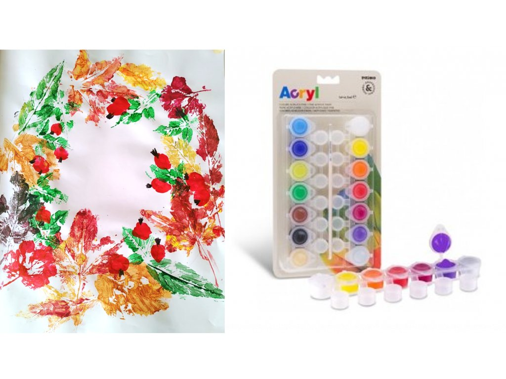 Podzimni věnec akrylové barvy