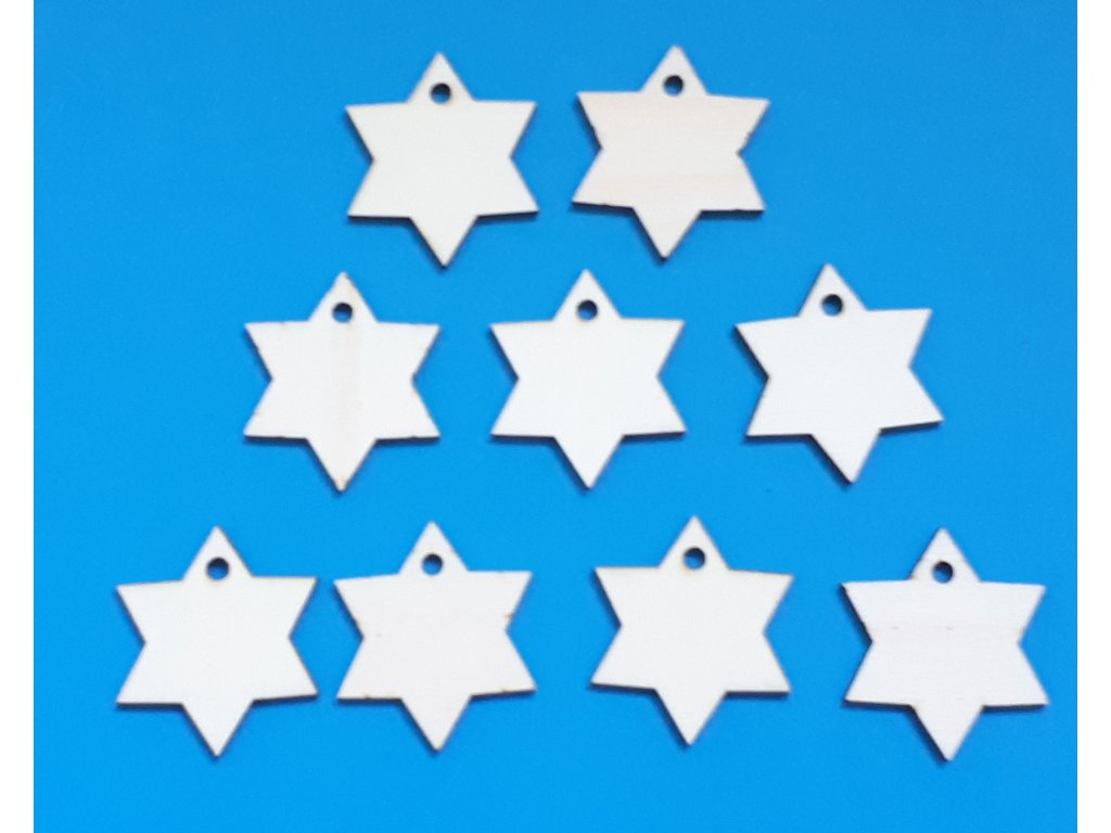 Hvězdička  šesticípá (4 cm) - dřevěný výřez