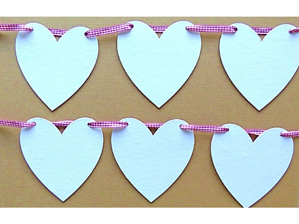 Srdíčko  girlanda (8 ks srdíček + stuha) - kartonový výřez