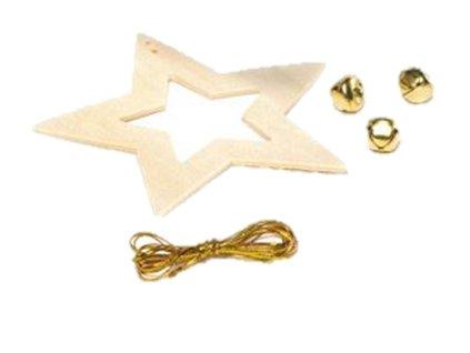 Hvězda dřevěná s rolničkou 11 cm (1ks)