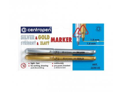Popisovač CENTROPEN 2690/2 SILVER+GOLD 2690 set (2ks)
