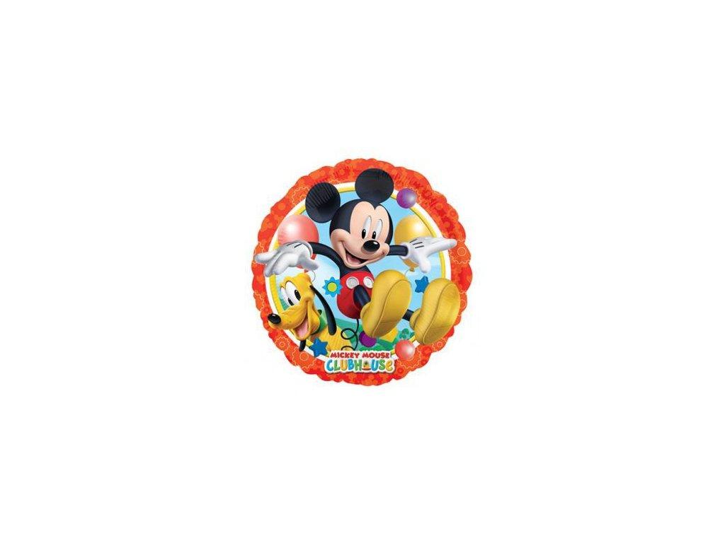 Foliový balónek kulatý - Mickey Mouse s Plutem