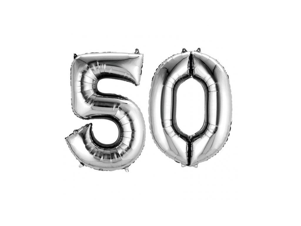 Balónky narozeninové velké - stříbrné - číslo 50