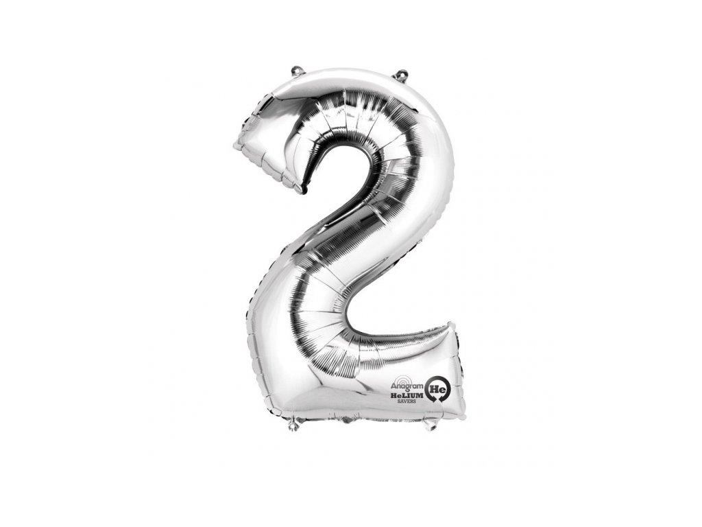 Balónek narozeninový velký - stříbrný - číslo 2