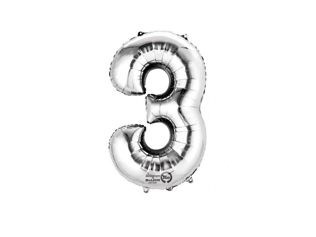 Balónek narozeninový MALÝ - stříbrný - číslo 3