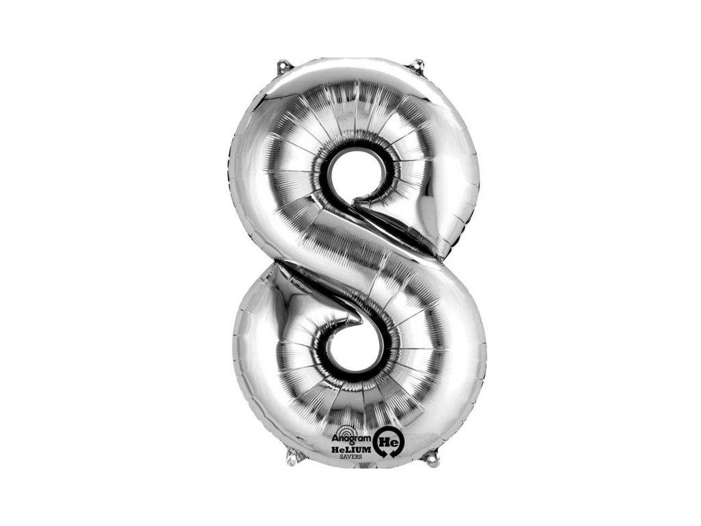 Balónek narozeninový MALÝ - stříbrný - číslo 8