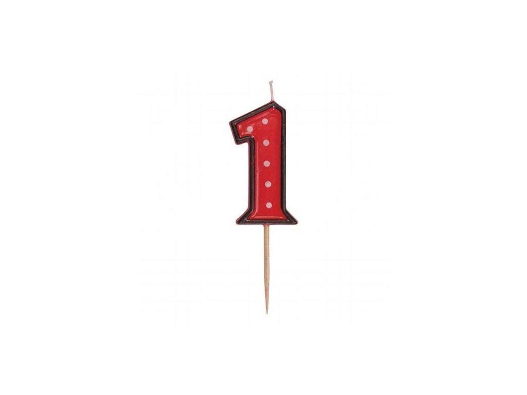 Dortová svíčka číslice ČERVENÁ s puntíky - 1