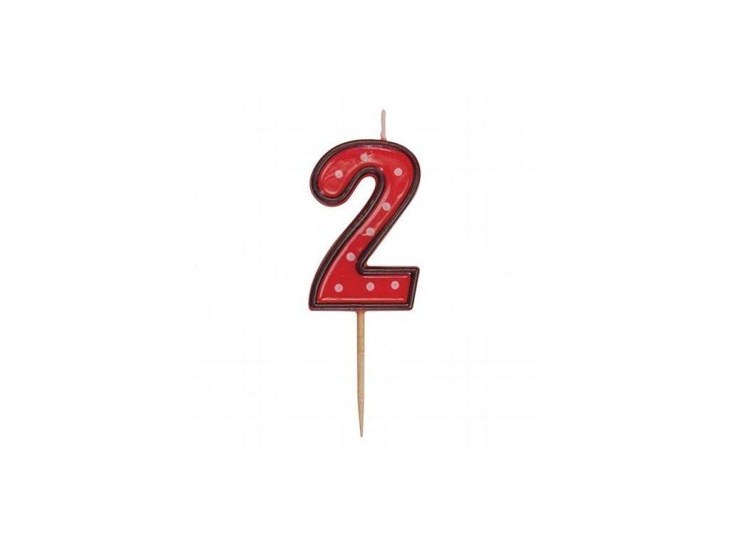 Dortová svíčka číslice ČERVENÁ s puntíky - 2