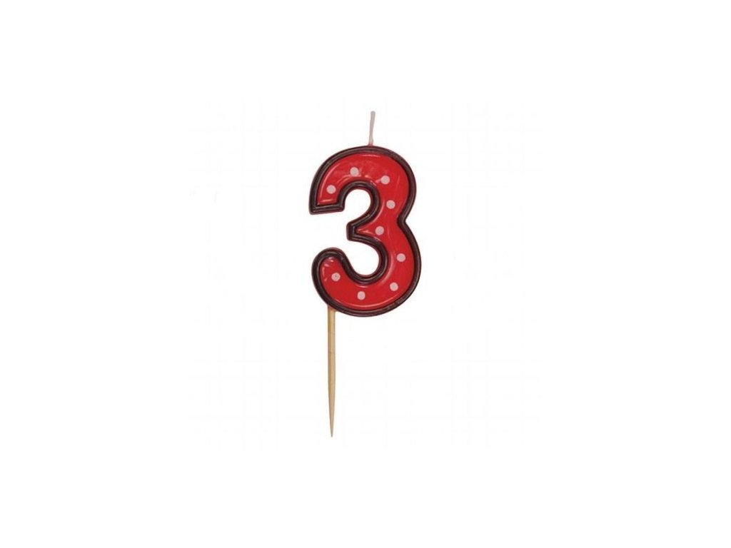 Dortová svíčka číslice ČERVENÁ s puntíky - 3