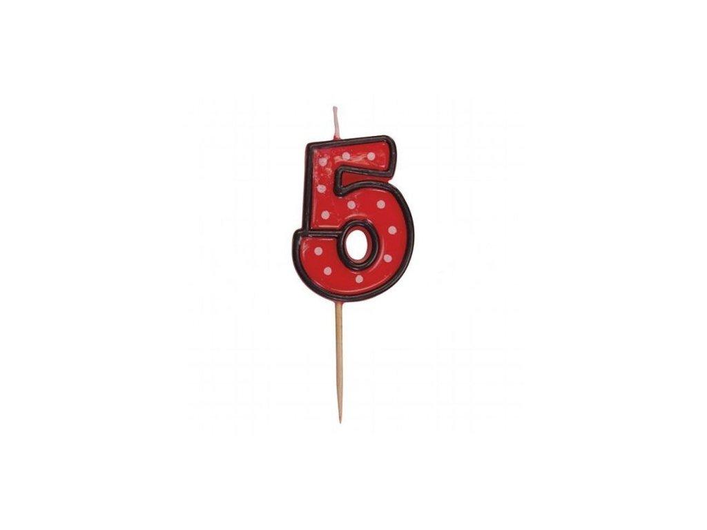 Dortová svíčka číslice ČERVENÁ s puntíky - 5