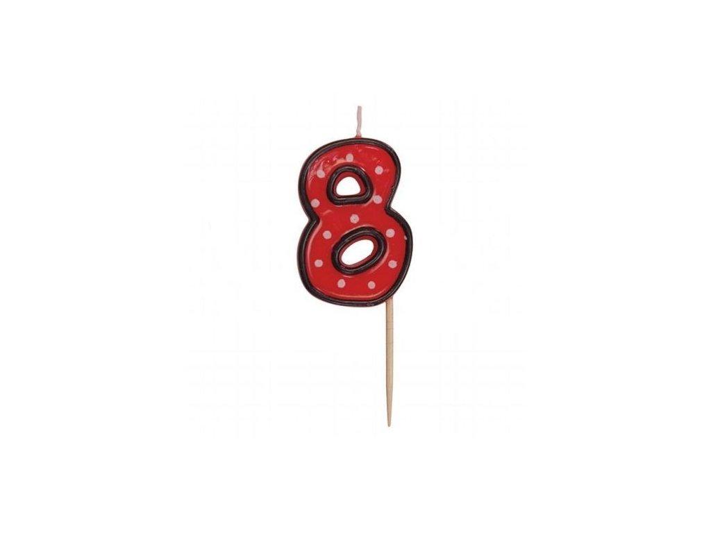 Dortová svíčka číslice ČERVENÁ s puntíky - 8