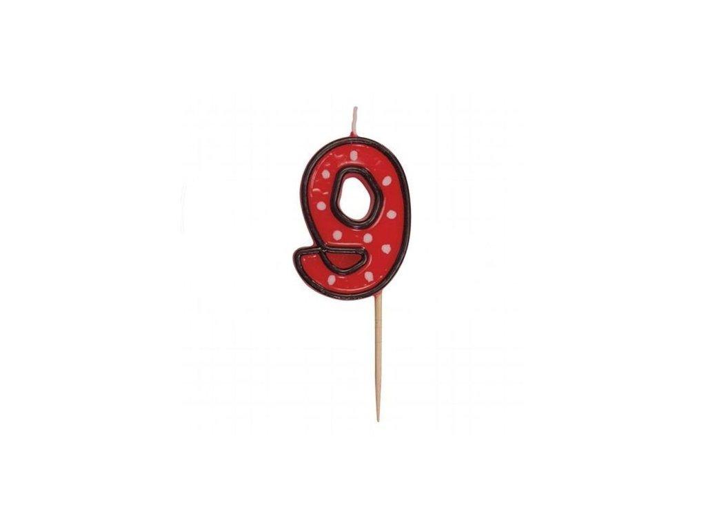 Dortová svíčka číslice ČERVENÁ s puntíky - 9