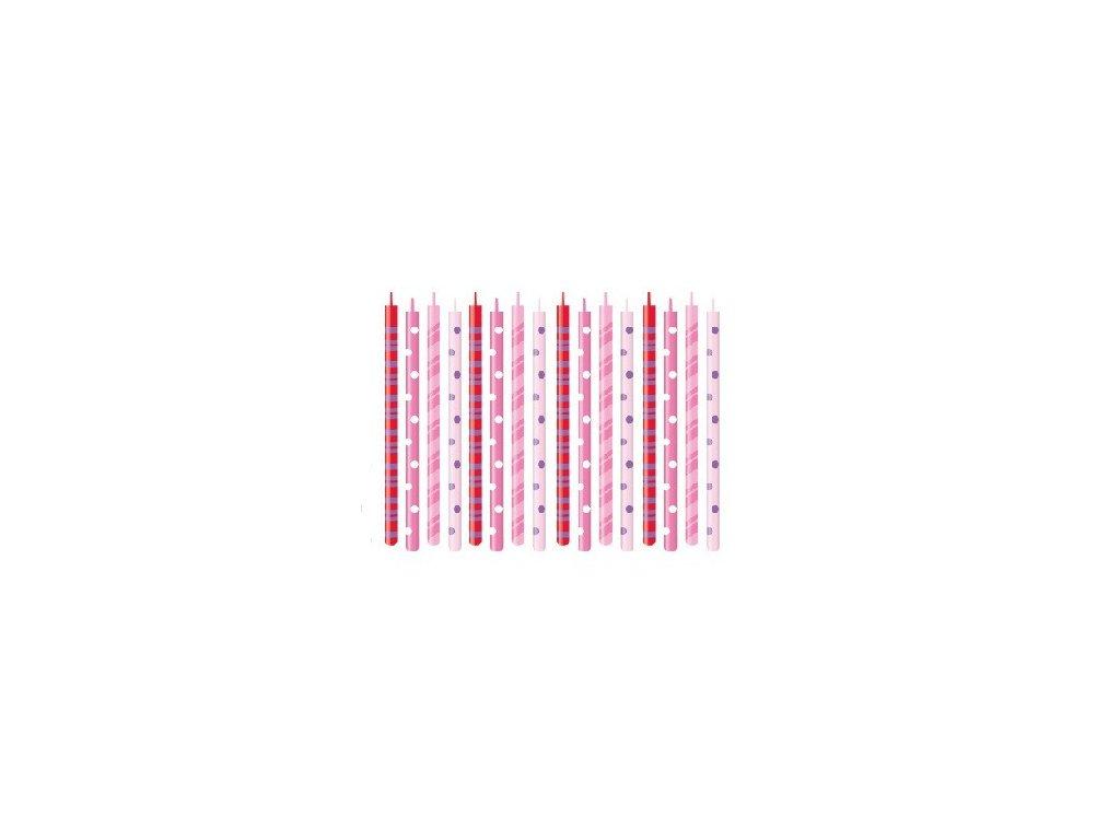 Dortové svíčky DELÍCIA 16 ks - růžové