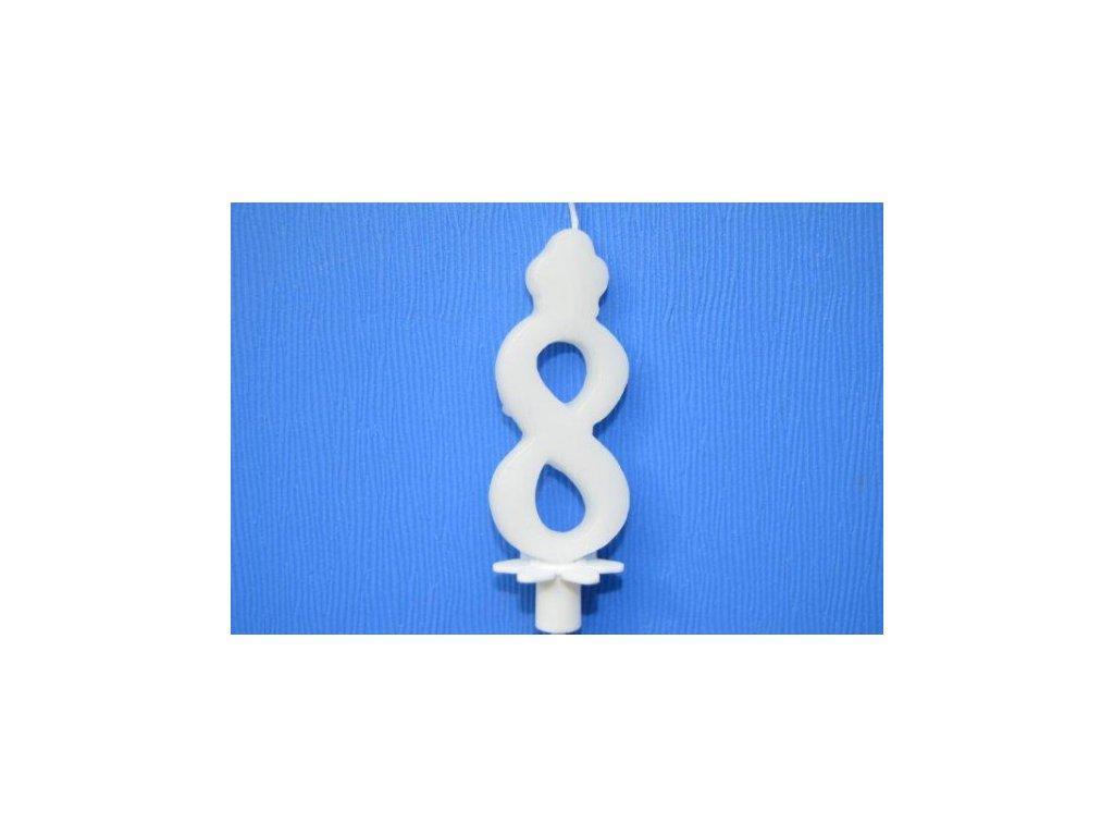 Dortová svíčka číslice bílá - 8