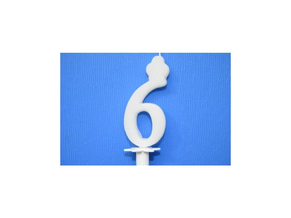 Dortová svíčka číslice bílá - 6