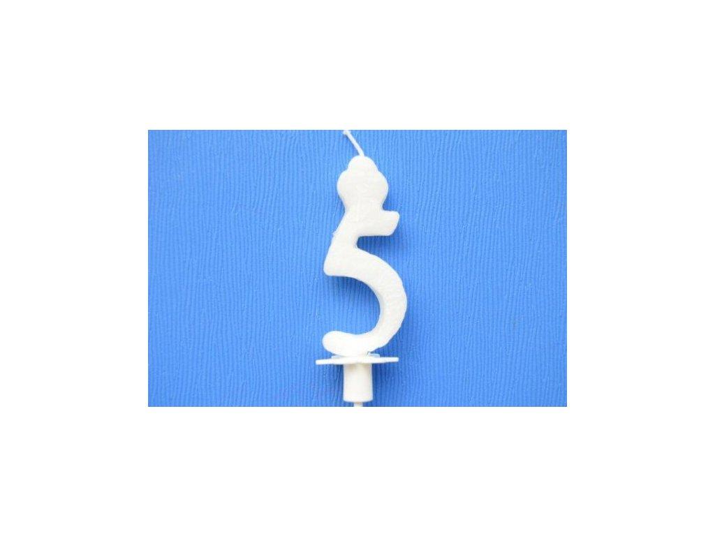 Dortová svíčka číslice bílá - 5