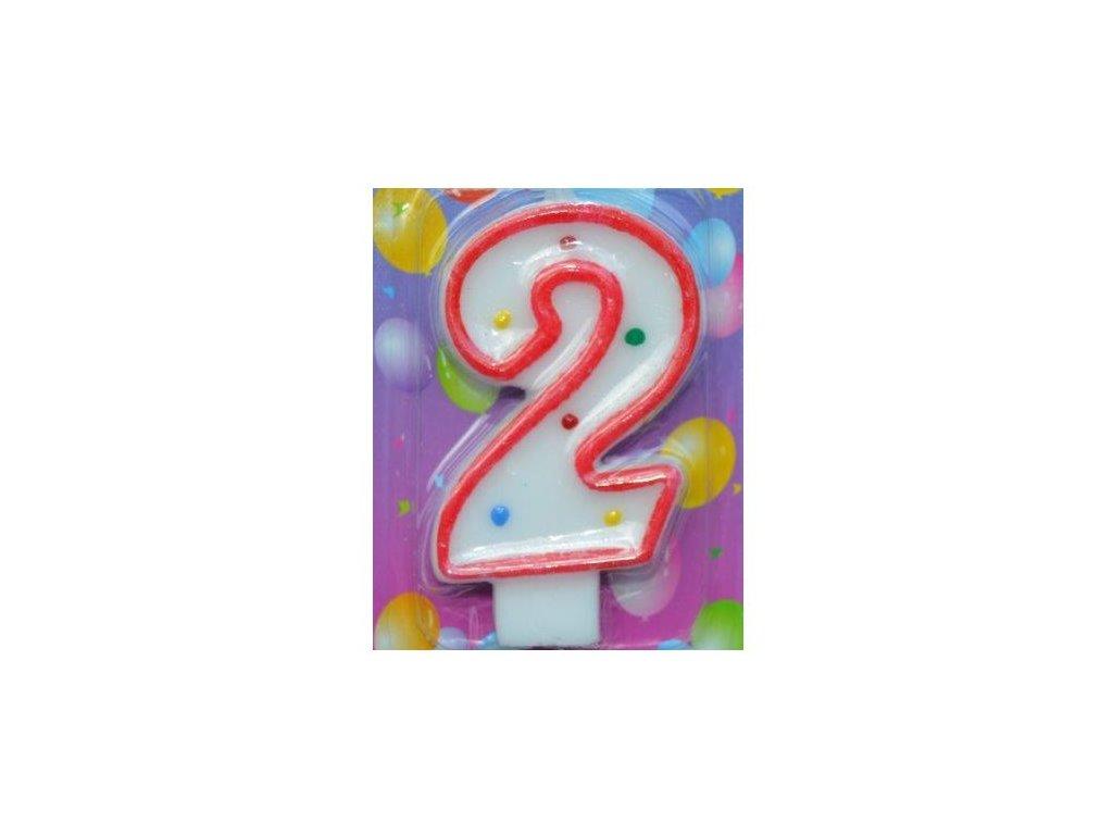 Svíčka číslice BAREVNÁ - 2